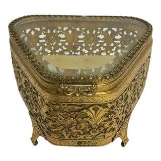 Hollywood Regency Goldtone Jewelry Box