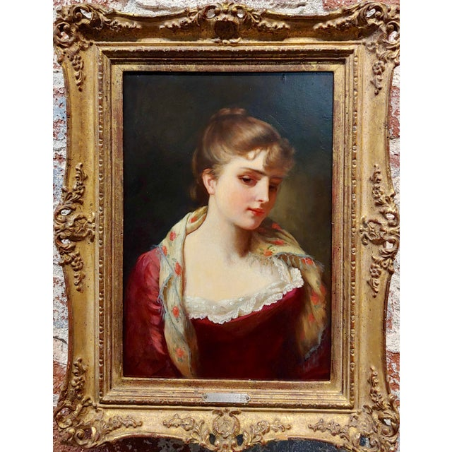 Gustave Jean Jacquet -Portrait of an Elegant young Lady- 19th century Oil painting oil painting on board -Signed circa...