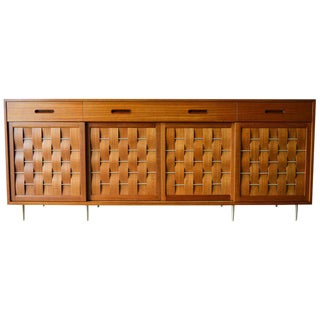 1960 Mid-Century Modern Edward Wormley for Dunbar Mahogany and Brass Basketweave Credenza For Sale