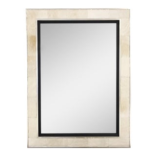 Mirror in Ivory Cowhide & Silver Finished Frame For Sale