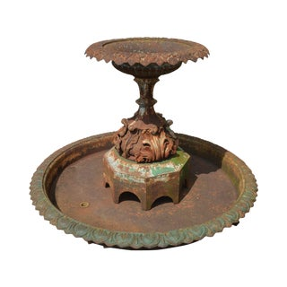 19th Century Antique Cast Iron Tiered Fountain For Sale
