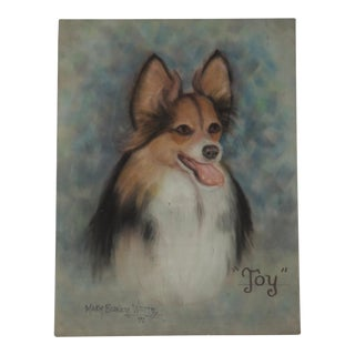 Vintage Pastel of a Papillon Dog Painting by Mary Blaney White For Sale