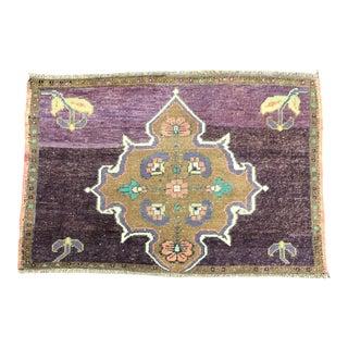 Vintage Turkish Handmade Wool Purple Small Rug For Sale