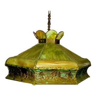 Antique Green Stained Glass Ceiling Light For Sale