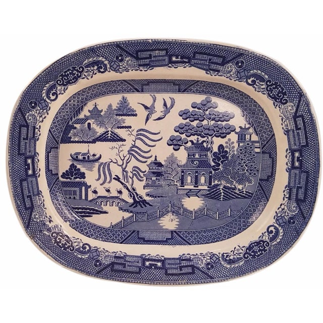 Dimmock & Smith Staffordshire Blue Willow Platter - Image 1 of 3
