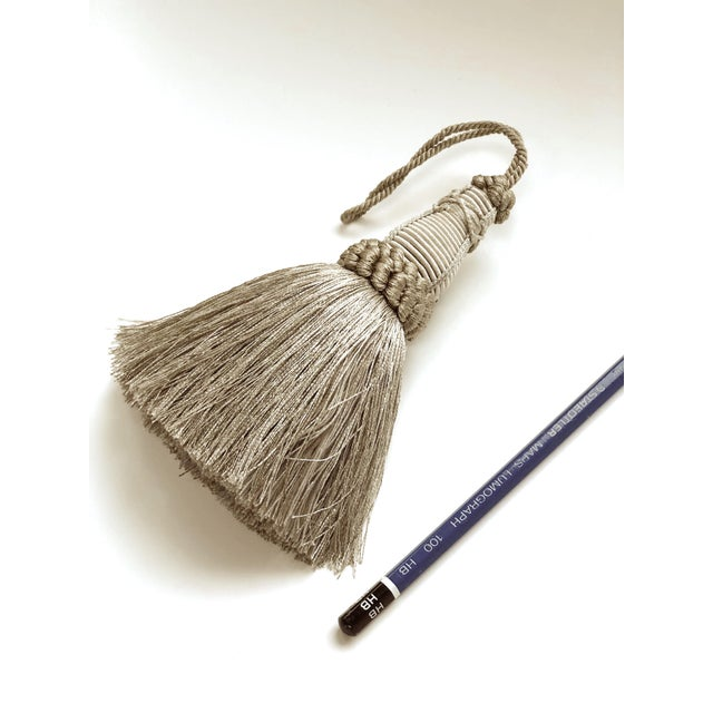 Pair of Key Tassels in Pewter With Looped Ruche Trim For Sale In New York - Image 6 of 11