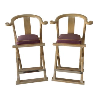 1980s Vintage Chinoiserie Bar Stools - A Pair For Sale
