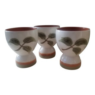 White with Red and Green Mid Century Stangl Redware Pottery Eggcups - Set of Three For Sale