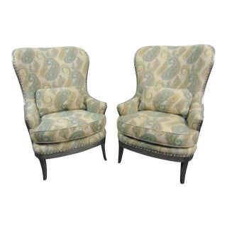 Arhaus Silver Paisley Open Frame Wing Chairs - a Pair For Sale