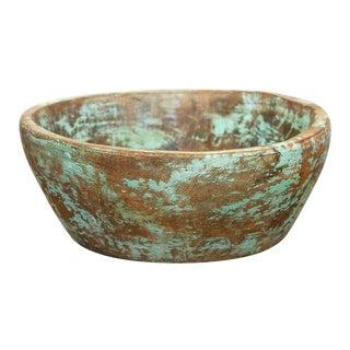 Antique Teal Dough Bowl For Sale