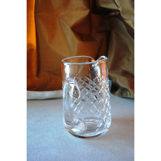 "Vintage Waterford Alana 16 oz Jug/1 pint pitcher. Measures about 5.625"" tall, 6"" wide from handle to spout and 3.25""..."