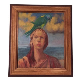 Mark Pullen Woman With Parrot Original Oil Painting For Sale
