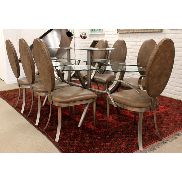 Contemporary Modern Dia Circle of Life Dining Set Table Chairs 1980s Glass Steel - Set of 9 For Sale - Image 12 of 12