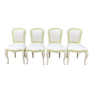Shabby Chic Tropical Lime Green Velvet and White Dining/Occasional Chairs - Set of 4 For Sale
