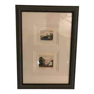 Contemporary Maine Landscape Watercolor Painting by Parks Beach, Framed For Sale