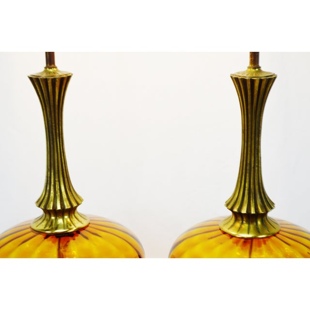 Mid Century Modern Amber Glass Table Lamps - a pair - Image 7 of 11