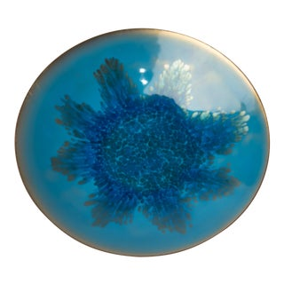 Mid Century Abstract Copper Enamel Bowl Plate Charger For Sale
