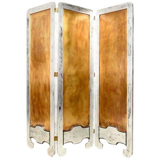 Mexican Modernist Mahogany Wood Room Divider With Silver Leaf & Brass Panel For Sale