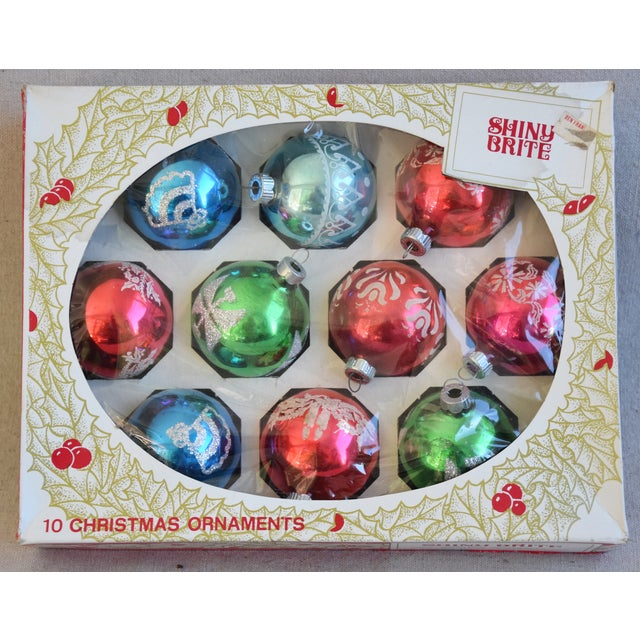 """Set of 10 vintage hand-decorated glass Christmas tree ornaments with box. No maker's mark. Ornaments, 2.25""""Dia x 2.5""""H;..."""