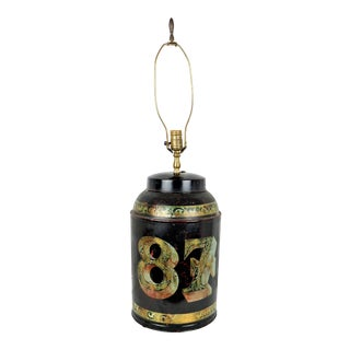 Vintage Italian Black Gold Tole Tea Canister Table Lamp For Sale