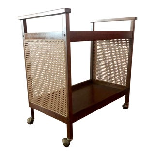 Mid Century Rosewood & Caning Barcart For Sale