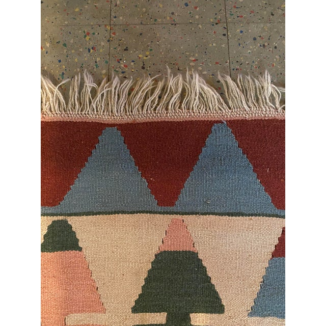 1900 - 1909 Vintage Handwoven Wool Flat Weave Fringed Turkish Rug For Sale - Image 5 of 6