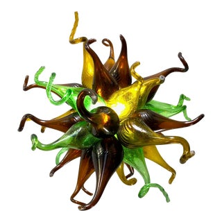 Light Fixture of Brown Green and Yellow Recycled Handblown Glass For Sale