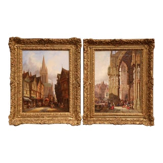 Pair of 19th Century Framed Oil on Canvas Paintings Signed Henry T. Schafer For Sale
