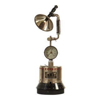 Vintage Parts , Industrial Desk Metal Lamp With Clock For Sale