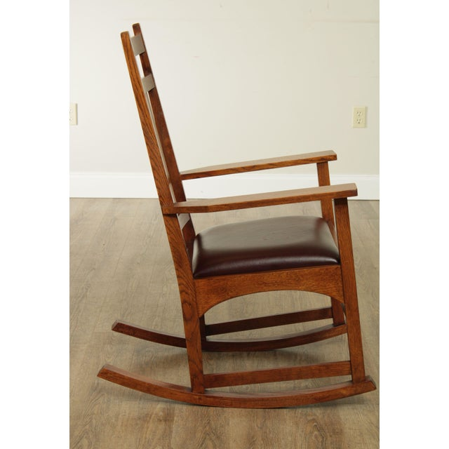 Stickley Mission Collection Harvey Ellis Rocker with Inlay For Sale In Philadelphia - Image 6 of 13