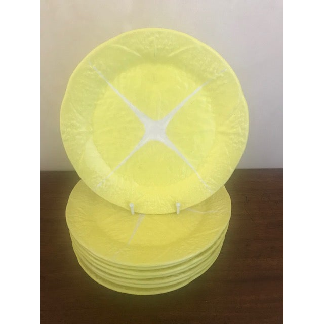 These large fun dinner plates are a happy yellow that will brighten up your table. These majolica style pieces feature an...