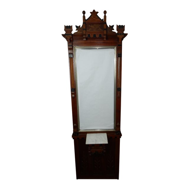 Antique 19th Century Inticrately Carved Eastlake Hall Stand Mirror
