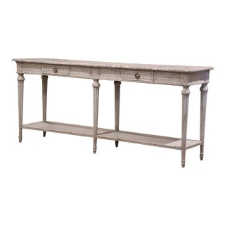 19th Century Louis XVI Carved Painted Console With Faux Marble Top For Sale