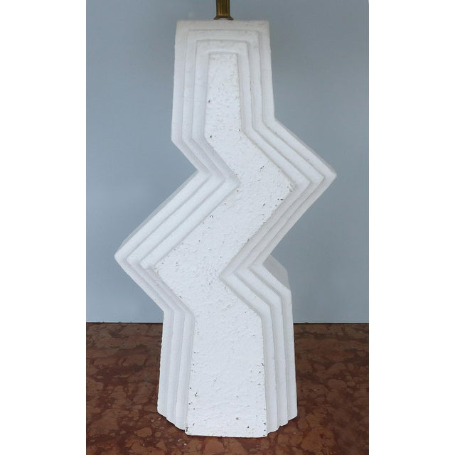 Mid-Century Modern Mid-Century Modern Geometric Plaster Table Lamps-A Pair For Sale - Image 3 of 13