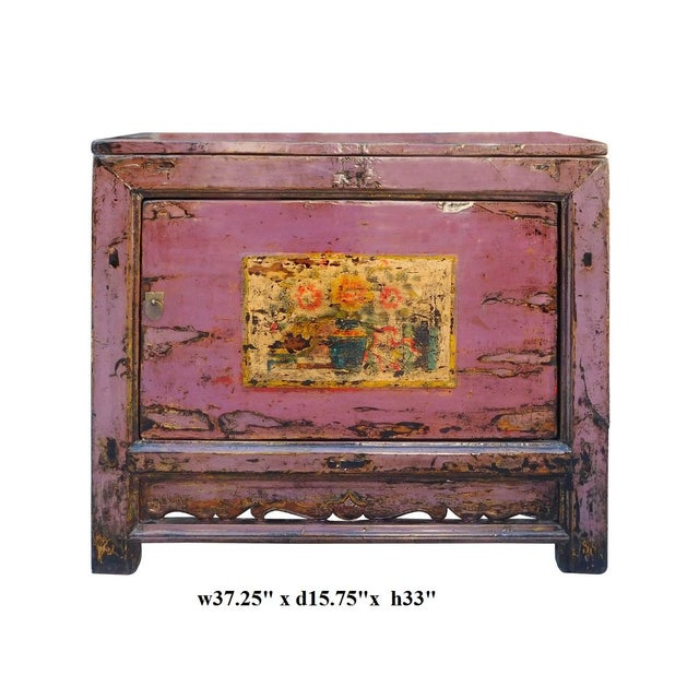 Chinese Floral Cabinet in Rustic Purple - Image 6 of 6