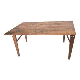 Minimalist Solid Claro Walnut Geometric Coffee Table For Sale
