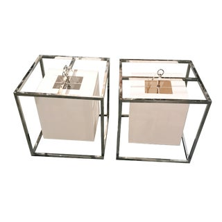 Square Caged Pendants - A Pair