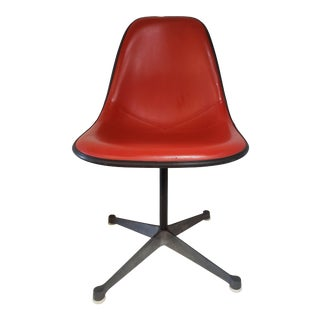 Mid Century Modern Charles Eames for Herman Miller Bright Red Molded Side Chair For Sale