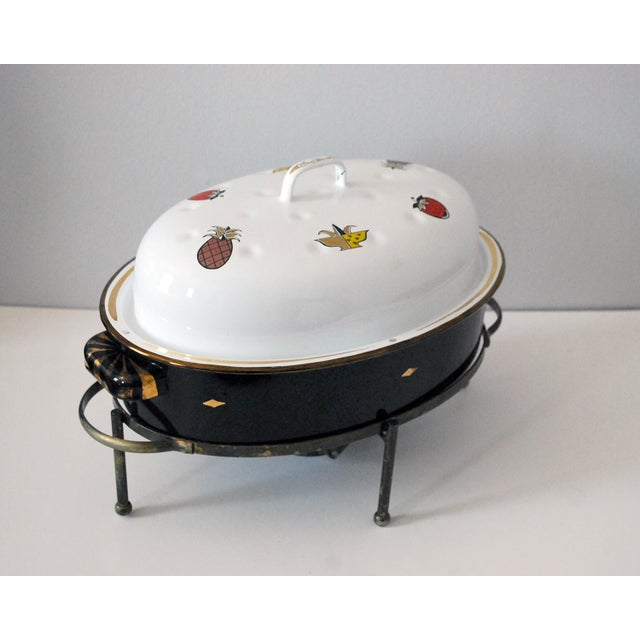 Georges Briard Mid-Century Georges Briard Enamel Roaster With Warming Stand For Sale - Image 4 of 6