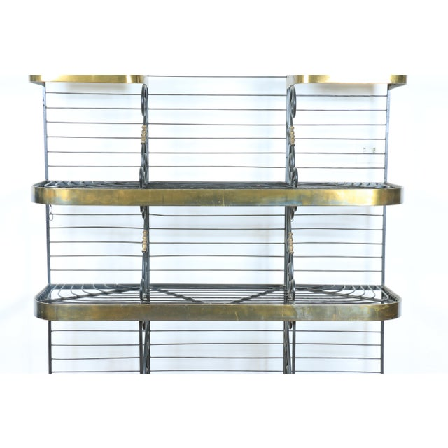 Hollywood Regency Wrought Iron and Brass Bakers Rack For Sale - Image 3 of 10