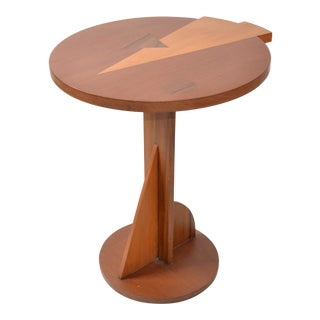 Mid-Century Modern Round Mahogany Wood Marquetry Side / Cocktail Table Italy For Sale