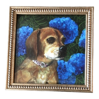 Puggle Dog Print With Blue Hydrangea by Judy Henn For Sale