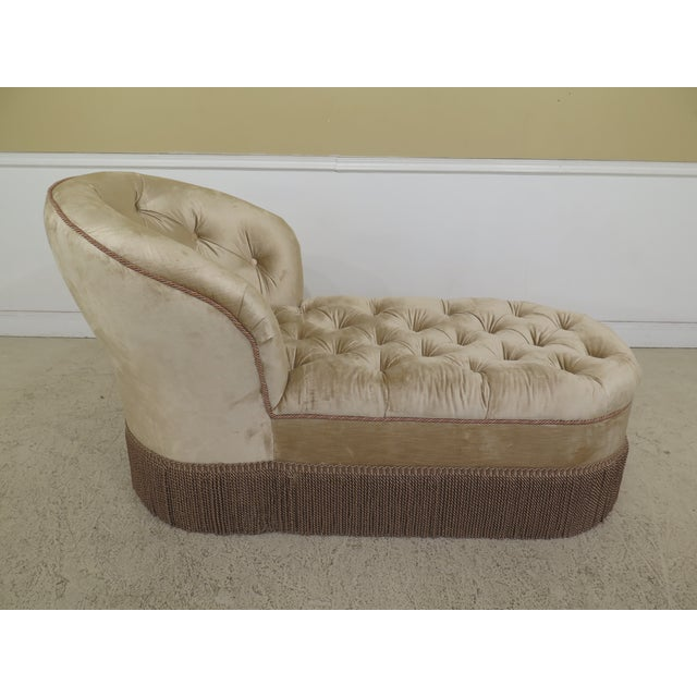 Custom Upholstered Tufted Chaise Lounge Settee Age: Approx: 25 Years Old Details: Nice Decorative Fringe Tufted Back...