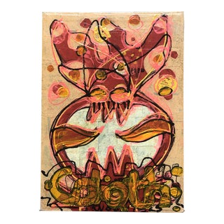 """Original Mixed Media """"Goth Monster """" Painting by Listed Outsider Artist Wayne Cunningham For Sale"""