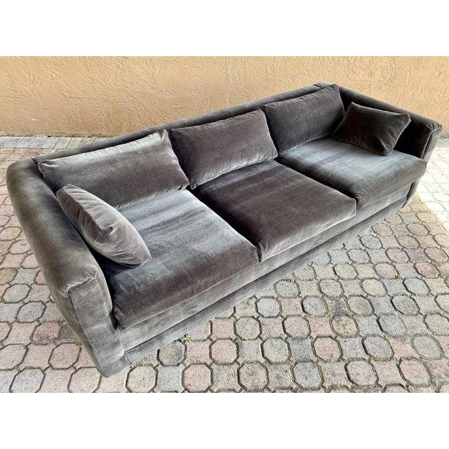 Restored 70s Gray Velvet Tuxedo Sofa For Sale - Image 9 of 9