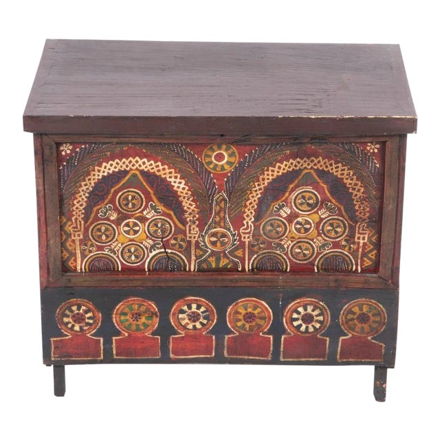 Mid 19th Century Moroccan Painted Wooden Chest For Sale