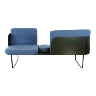 Mid Century Modern Style Custom Made Blue Upholstered Sofa Bench For Sale