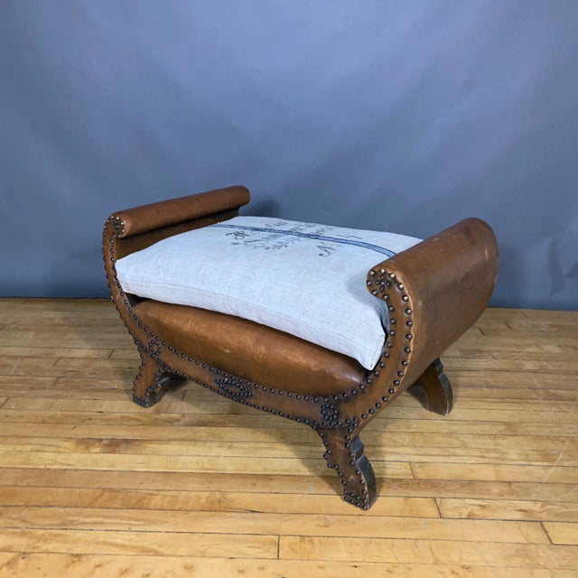 Gold 1930s Otto Schulz Leather & Grainsack Footstool, Boet, Sweden For Sale - Image 8 of 11