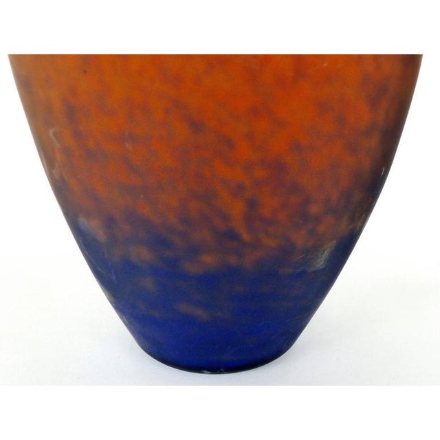 1930s Charles Scheider French Art Deco Cobalt Blue to Orange Vase, circa 1930 For Sale - Image 5 of 7