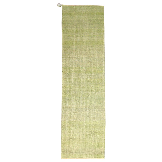 Green Over-dye Turkish Runner For Sale